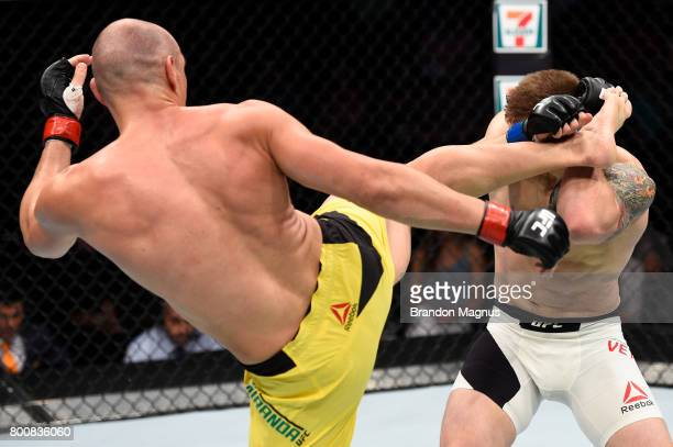Vitor Miranda of Brazil kicks Marvin Vettori of Italy in their middleweight bout during the UFC Fight Night event at the Chesapeake Energy Arena on...