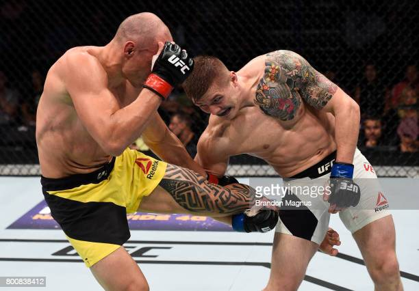 Vitor Miranda of Brazil kicks the leg of Marvin Vettori of Italy in their middleweight bout during the UFC Fight Night event at the Chesapeake Energy...