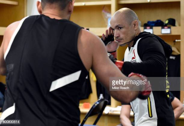 Vitor Miranda of Brazil warms up prior to his bout against Marvin Vettori of Italy during the UFC Fight Night event at the Chesapeake Energy Arena on...