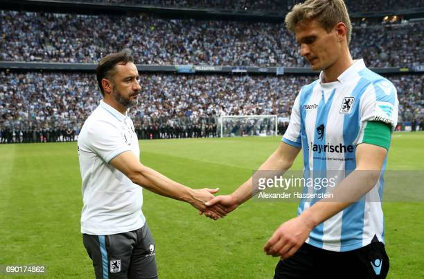 Vitor Pereira head coach of 1860 Muenchen and Kai Buelow look dejected after the Second Bundesliga Playoff second leg match betweenTSV 1860 Muenchen...