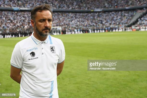 Vitor Pereira head coach of 1860 Muenchen looks dejected after the Second Bundesliga Playoff second leg match betweenTSV 1860 Muenchen and Jahn...