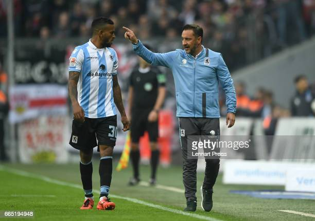 Vitor Pereira head coach of TSV 1860 Muenchen talks to Amilton during the Second Bundesliga match between TSV 1860 Muenchen and VfB Stuttgart at...