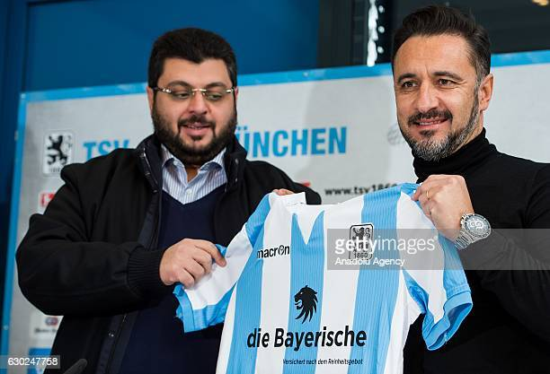 Vitor Pereira new head coach of German 2nd Bundesliga soccer club TSV 1860 Munich and the club investor Hasan Ismaik attend a press conference in...