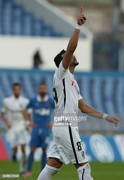 Vitoria de Guimaraes' forward Henrique Dourado celebrates after scoring a goal during the Primeira Liga match between Os Belenenses and Vitoria de...