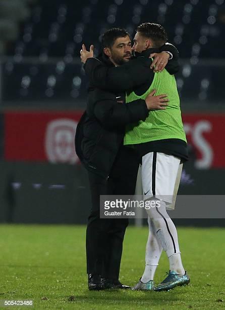 Vitoria de Guimaraes's coach Sergio Conceicao celebrates the victory with players at the end of the Primeira Liga match between Vitoria de Guimaraes...