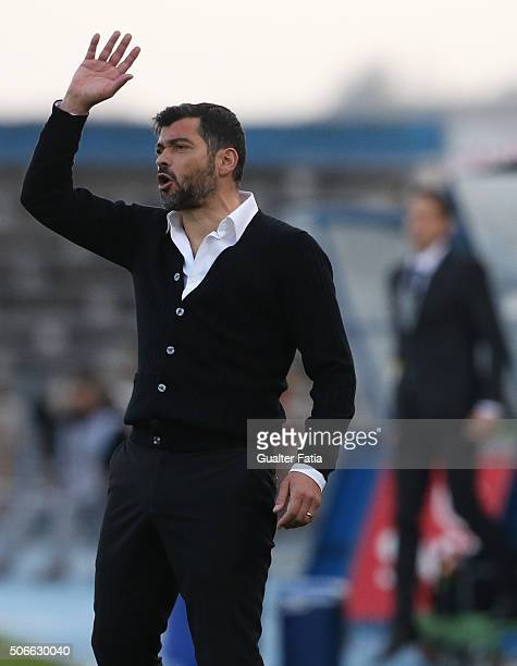 Vitoria de Guimaraess coach Sergio Conceicao in action during the Primeira Liga match between Os Belenenses and Vitoria de Guimaraes at Estadio do...