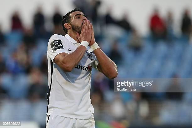Vitoria de Guimaraess forward Henrique Dourado after missing a goal opportunity during the Primeira Liga match between Os Belenenses and Vitoria de...