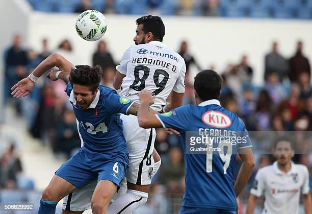 Vitoria de Guimaraess forward Henrique Dourado with Os Belenenses midfielder Ruben Pinto in action during the Primeira Liga match between Os...