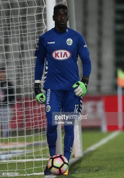 Vitoria de SetubalÕs goalkeeper Bruno Varela in action during the Primeira Liga match between Vitoria Setubal and Vitoria Guimaraes at Estadio do...