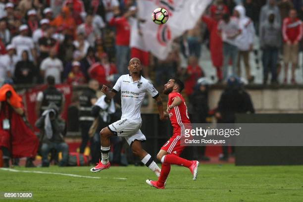 Vitoria Guimaraes defender Bruno Gaspar from Portugal vies with Benfica's midfielder Rafa Silva from Portugal during the match between SL Benfica and...
