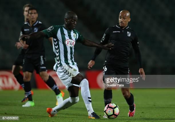 Vitoria Guimaraes' defender Bruno Gaspar with Vitoria de Setubal's forward Edinho in action during the Primeira Liga match between Vitoria Setubal...