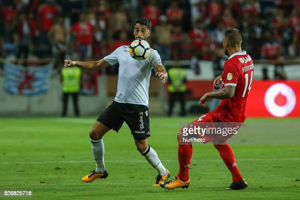 Vitoria Guimaraes defender Josue Sa from Portugal Benficas forward Haris Seferovic from Switzerland during the Candido Oliveira Super Cup match...