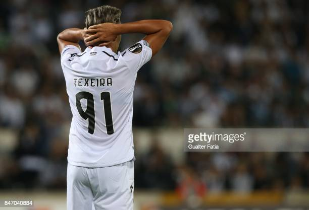 Vitoria Guimaraes forward David Teixeira from Argentina reaction after missing a goal opportunity during the UEFA Europa League match between Vitoria...