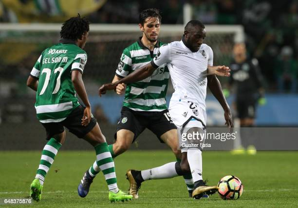 Vitoria GuimaraesÕ forward Moussa Marega with Sporting CPÕs defender Paulo Oliveira from Portugal in action during the Primeira Liga match between...