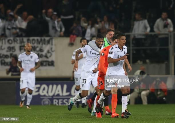 Vitoria Guimaraes forward Paolo Hurtado from Peru celebrates after scoring a goal during the UEFA Europa League match between Vitoria de Guimaraes...