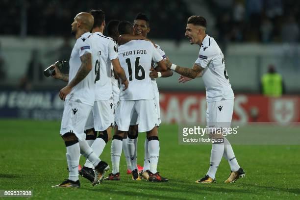 Vitoria Guimaraes forward Paolo Hurtado from Peru celebrates scoring Vitoria Guimaraes goal with his team mates during the match between Vitoria...