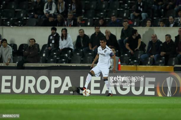 Vitoria Guimaraes forward Paolo Hurtado from Peru during the match between Vitoria Guimaraes and Olympique Marseille match for UEFA Europa League at...