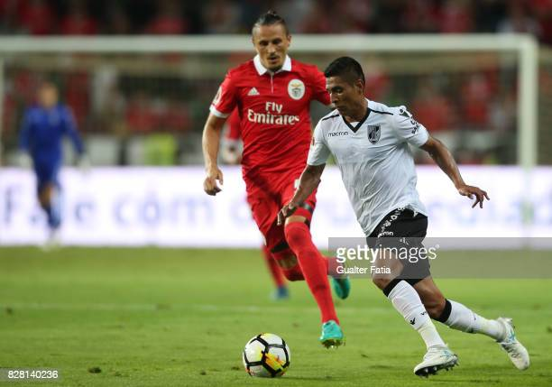Vitoria Guimaraes forward Paolo Hurtado from Peru in action during the SuperTaca match between SL Benfica and Vitoria Guimaraes at Estadio Municipal...