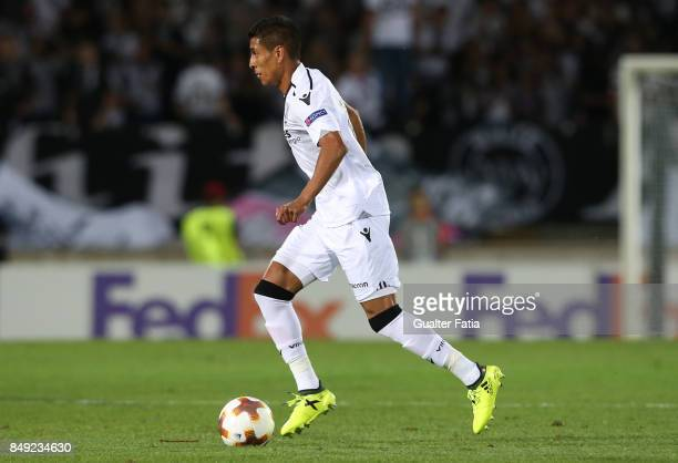 Vitoria Guimaraes forward Paolo Hurtado from Peru in action during the UEFA Europa League match between Vitoria de Guimaraes and RB Salzburg at...