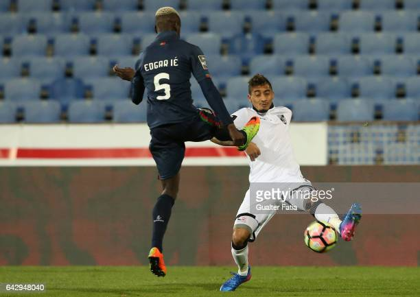 Vitoria Guimaraes forward Raphinha with Belenenses's defender Edgar Ie from Portugal in action during the Primeira Liga match between Belenenses and...