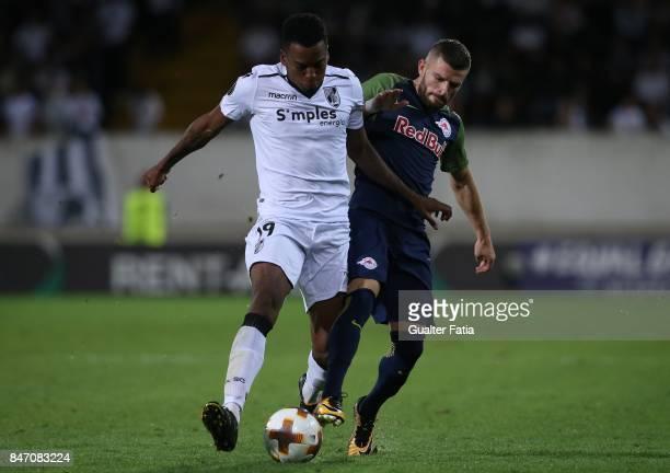 Vitoria Guimaraes forward Sebastion Rincon from Colombia with RB Salzburg midfielder Valon Berisha from Kosovo in action during the UEFA Europa...