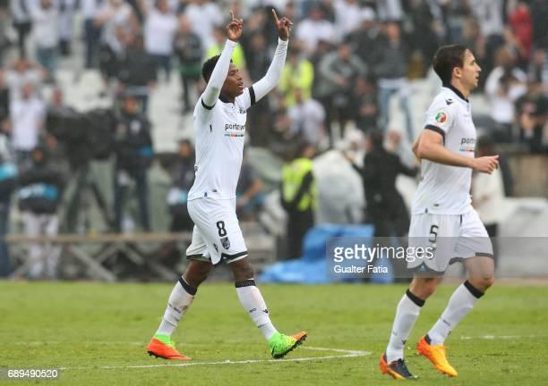 Vitoria Guimaraes' midfielder Bongani Zungu celebrates after scoring a goal during the Portuguese Cup Final match between SL Benfica and Vitoria...