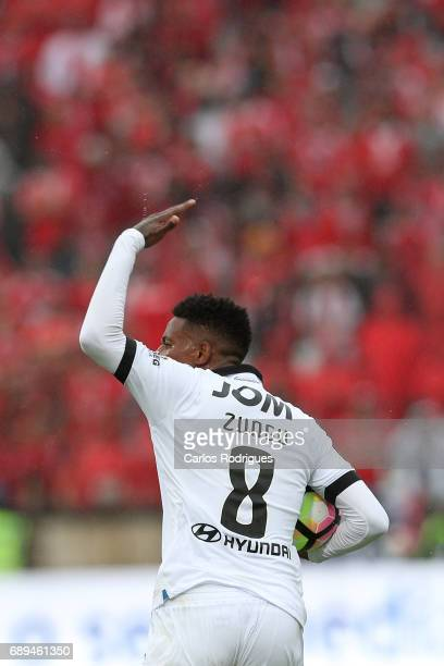 Vitoria Guimaraes midfielder Bongani Zungu celebrates scoring Vitoria Guimaraes goal during the match between SL Benfica and Vitoria SC for the...