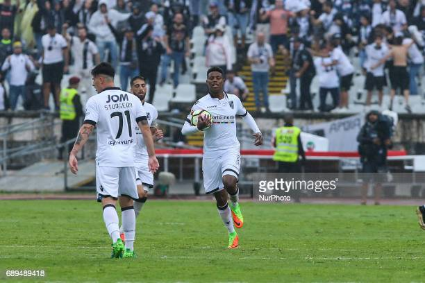 Vitoria Guimaraes midfielder Bongani Zungu celebrating after scoring a goal during the match between SL Benfica and Vitoria SC for the Portuguese Cup...