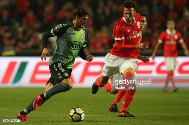 Vitoria Setubal forward Goncalo Paciencia from Portugal with SL Benfica midfielder Andreas Samaris from Greece in action during the Portuguese Cup...