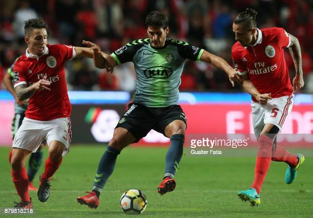 Vitoria Setubal forward Goncalo Paciencia from Portugal with SL Benfica defender Alejandro Grimaldo from Spain and SL Benfica midfielder Ljubomir...