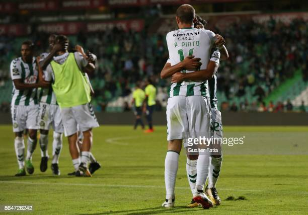 Vitoria Setubal forward Joao Amaral from Portugal celebrates with teammate Vitoria Setubal defender Pedro Pinto from Portugal after scoring a goal...