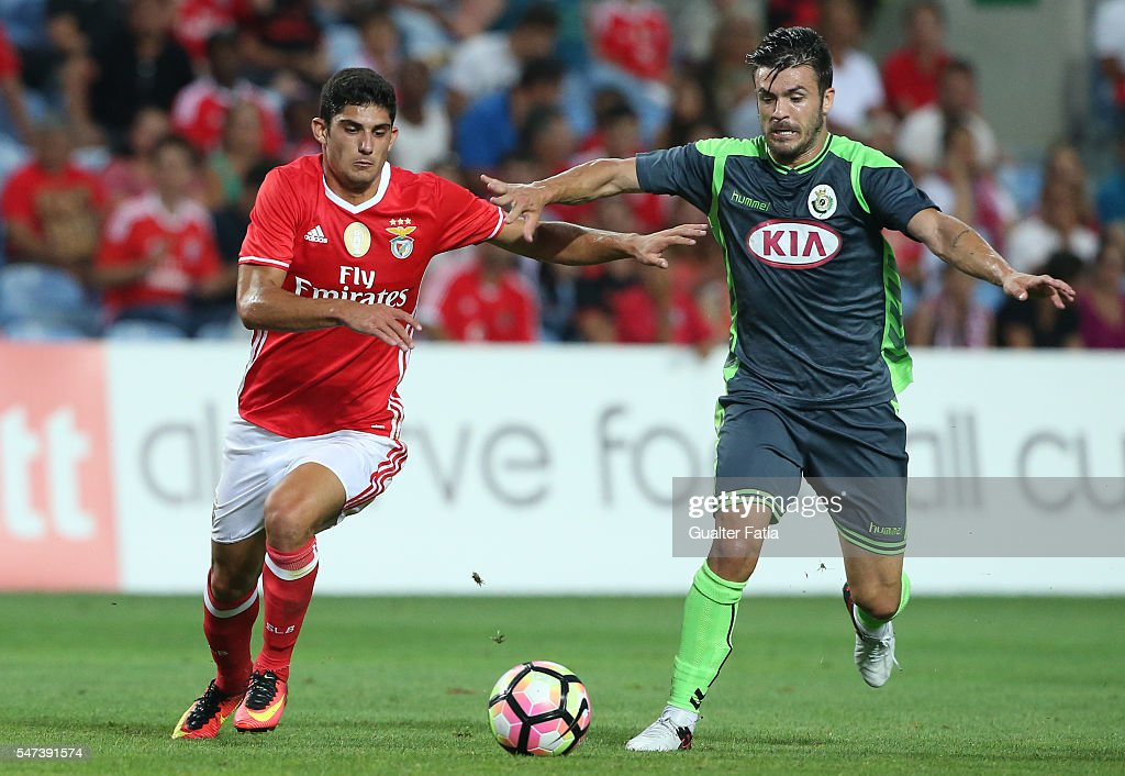 Vitoria Setubal's midfielder Nene Bonilla (R) with SL Benfica's midfielder Goncalo Guedes in action during the Algarve Football Cup Pre Season Friendly match between SL Benfica and Vitoria Setubal at Estadio do Algarve on July 14, 2016 in Faro, Portugal.