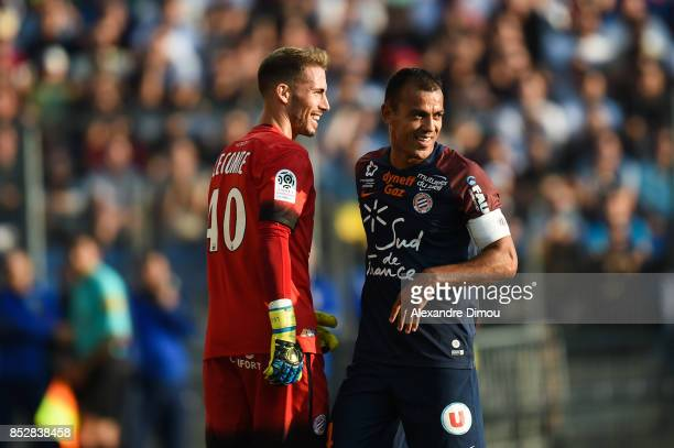 Vitorino Hilton and Benjamin Lecomte of Montpellier during the Ligue 1 match between Montpellier Herault SC and Paris Saint Germain at Stade de la...