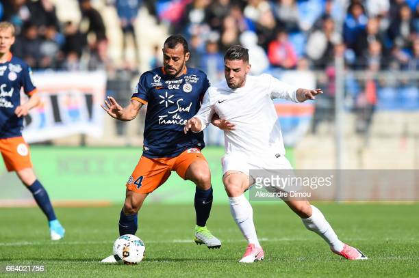 Vitorino Hilton of Montpellier and Andy Delort of Toulouse during the French Ligue 1 match between Montpellier and Toulouse at Stade de la Mosson on...