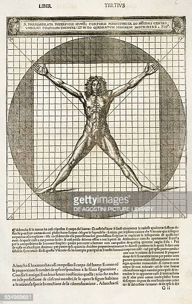 Vitruvian man human figure inscribed in the square and circle drawing from De architectura by Vitruvius published by Cesare Cesariano Como Copyright...