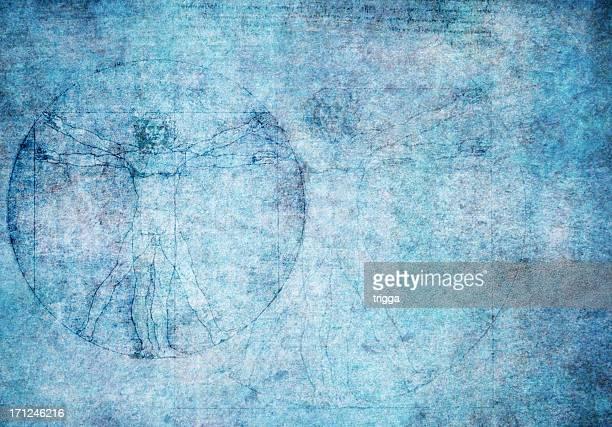 L'Uomo Vitruviano in trama di sfondo blu