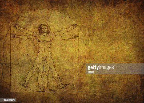 Vitruvian man on gold textured background