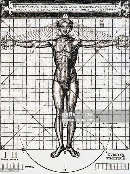 Vitruvius Woodcut Illustration of Human Body Proportions on Grid by Cesare Cesariano