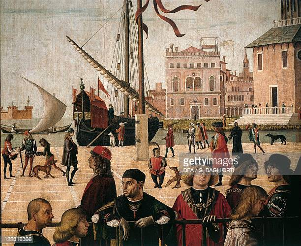 Vittore Carpaccio Scenes from the Life of Saint Ursula the Arrival of the English Ambassadors Detail the harbour