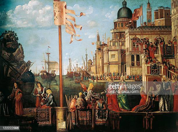 Vittore Carpaccio Scenes from the Life of Saint Ursula The Meeting of Etherius and Ursula and the Departure of the Pilgrims Detail