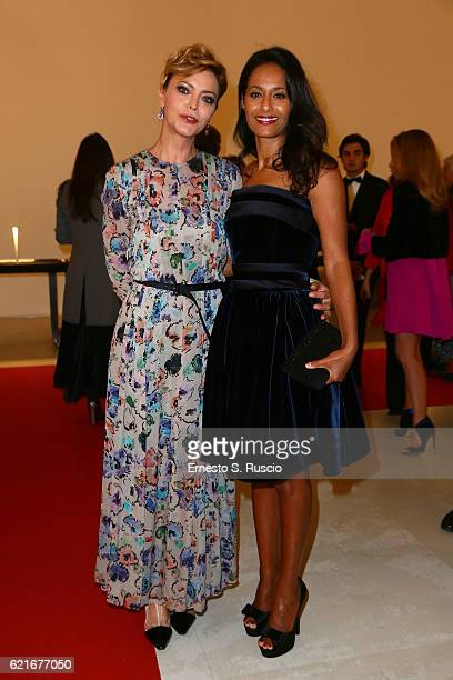 Vittoria Belvedere and Rula Jebreal attend a welcome cocktail and 'The Japanese House' exhibition preview for the MAXXI Acquisition Gala Dinner 2016...
