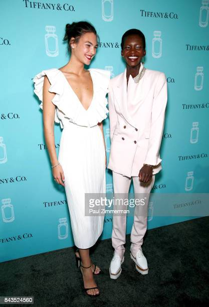 Vittoria Ceretti and Achok Majak attend the Tiffany Co Fragrance Launch at Highline Stages on September 6 2017 in New York City