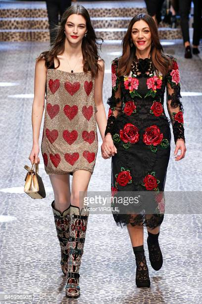 Vittoria Ceretti and Francesca Lazzari walk the runway at the Dolce Gabbana Ready to Wear fashion show during Milan Fashion Week Fall/Winter 2017/18...