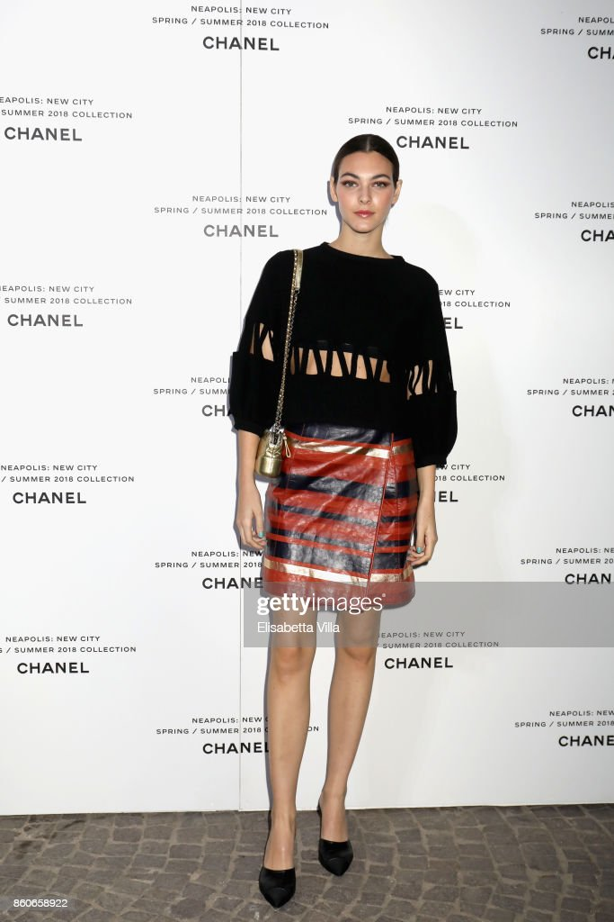Vittoria Ceretti attends the launch of Lucia Pica's Chanel Spring-Summer 2018 Make up Collection on October 12, 2017 in Naples, Italy.