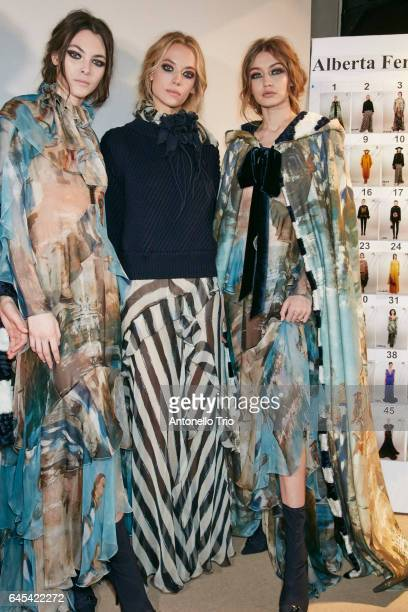 Vittoria Ceretti Hannah Ferguson and Gigi Hadid seen backstage ahead of the Alberta Ferretti show during Milan Fashion Week Fall/Winter 2017/18 on...