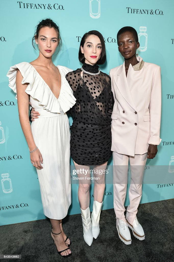 Vittoria Ceretti, St. Vincent, and Achok Majak attend the Tiffany & Co. Fragrance launch event on September 6, 2017 in New York City.