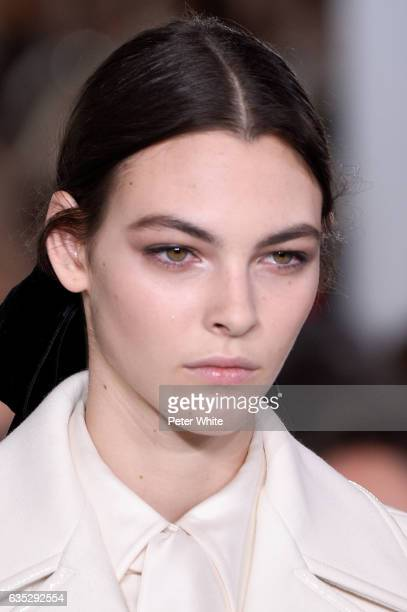 Vittoria Ceretti walks the runway at the Tory Burch FW17 Show during New York Fashion Week at at The Whitney Museum of American Art on February 14...