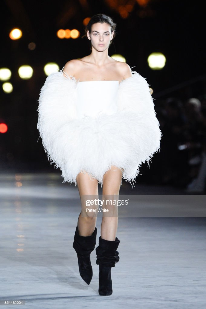 Vittoria Ceretti walks the runway during the Saint Laurent show as part of the Paris Fashion Week Womenswear Spring/Summer 2018 on September 26, 2017 in Paris, France.