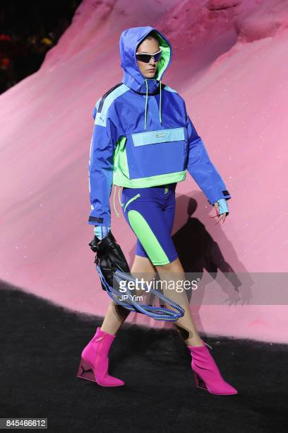 Vittoria Ceretti walks the runway wearing Look 54 at the FENTY PUMA by Rihanna Spring/Summer 2018 Collection at Park Avenue Armory on September 10...