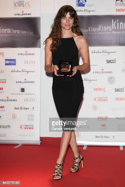 Vittoria Puccini poses with the award at the Kineo Diamanti Awards during the 74th Venice Film Festival at Excelsior Hotel on September 3 2017 in...